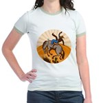 cowboy riding horse Jr. Ringer T-Shirt
