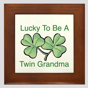 Lucky To Be A Twin Grandma Framed Tile