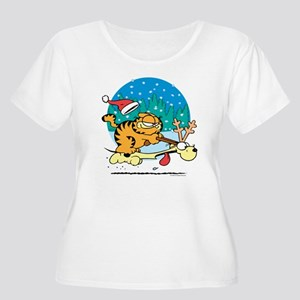 Odie Reindeer Women's Plus Size Scoop Neck T-Shirt