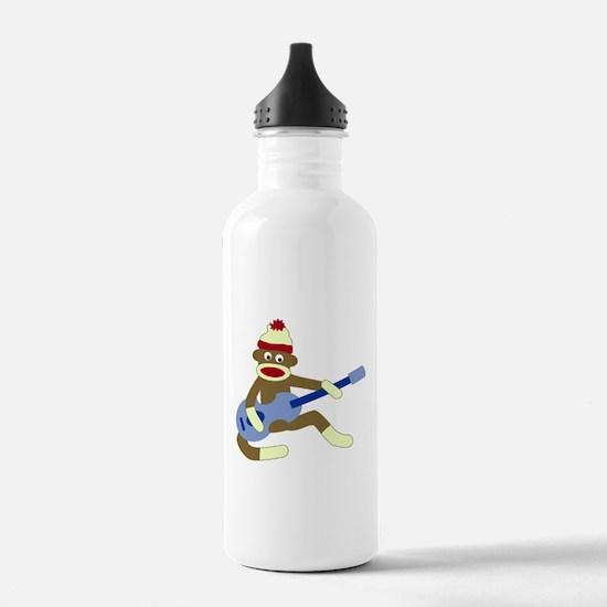 Sock Monkey Blue Guitar Water Bottle