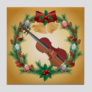 Violin Christmas Music Tile Coaster