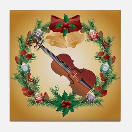 Violin Christmas Music Tile Coaster