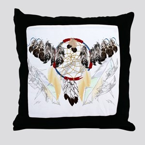 Dream Catcher and Feathers(wide) Throw Pillow