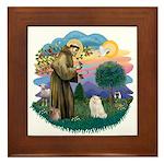 St Fran. (ff) - White Persian Framed Tile