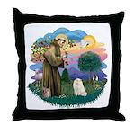 St Fran. (ff) - White Persian Throw Pillow