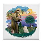 St Fran. (ff) - White Persian Tile Coaster