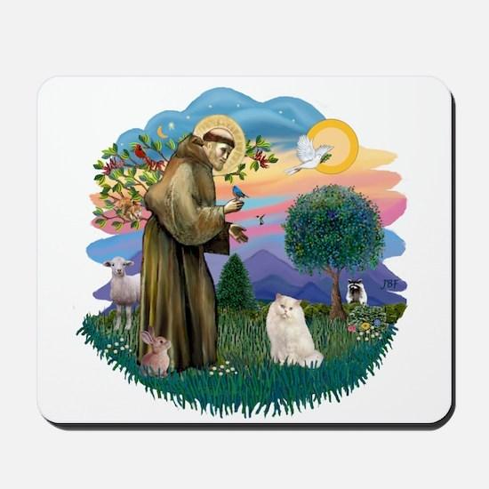 St Fran. (ff) - White Persian Mousepad