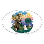 St Fran. (ff) - White Persian Sticker (Oval 10 pk)