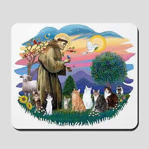 St Francis (ff)-7 Cats Mousepad