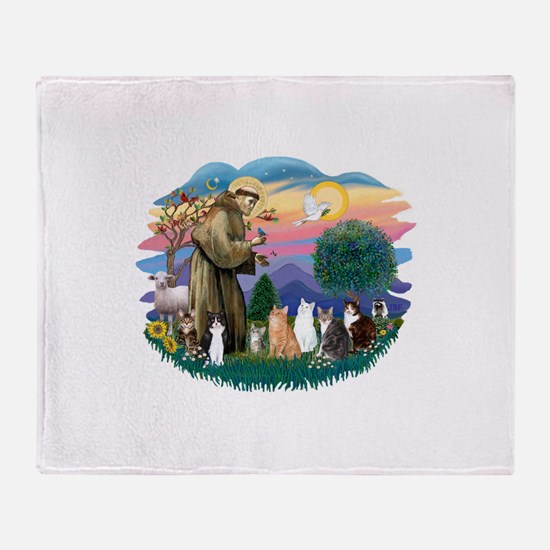 St Francis (ff)-7 Cats Throw Blanket
