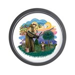 St Fran (ff) - Brown Tabby Cat Wall Clock