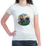 St Fran (ff) - Brown Tabby Cat Jr. Ringer T-Shirt
