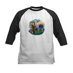 St Fran (ff) - Brown Tabby Cat Kids Baseball Jerse