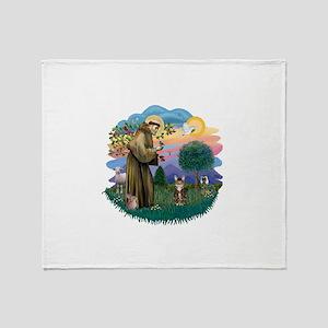 St Fran (ff) - Brown Tabby Cat Throw Blanket