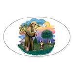 St Fran (ff) - Brown Tabby Cat Sticker (Oval 10 pk
