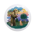 St. Fran. (ff) - Orange Tabby Ornament (Round)