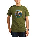 StFran(f)-Abyssin. (rd) Organic Men's T-Shirt (dar