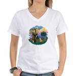 StFran(f)-Abyssin. (rd) Women's V-Neck T-Shirt