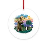 St Fran (ff) - Black/White cat Ornament (Round)