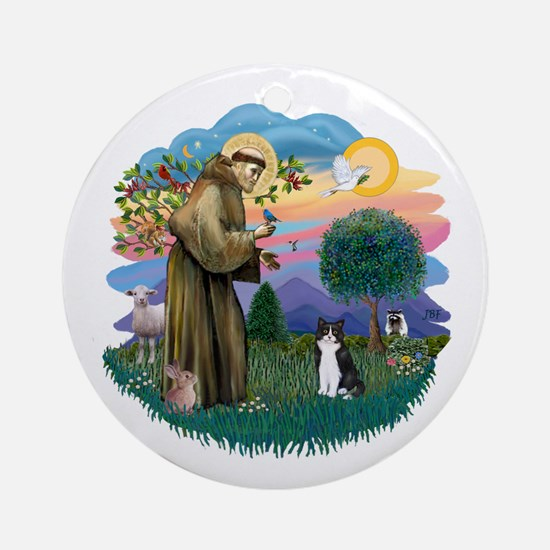 St Fran (ff) - Black/White cat Ornament (Round)