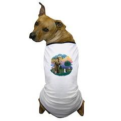St Fran (ff) - Black/White cat Dog T-Shirt