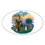 St Fran (ff) - Black/White cat Sticker (Oval 10 pk