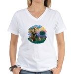 St Francis - Sphynx (fawn) Women's V-Neck T-Shirt