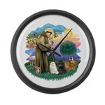 St Fran (ff) - 3 Persian Cats Large Wall Clock