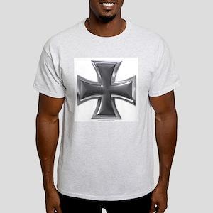 Black & Chrome Iron Cross Ash Grey T-Shirt