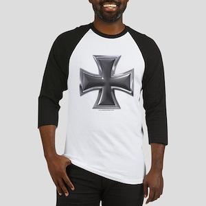 Black & Chrome Iron Cross Baseball Jersey