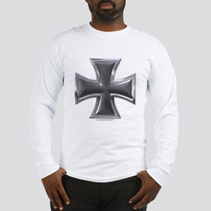 Black & Chrome Iron Cross Long Sleeve T-Shirt