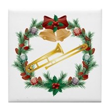 Christmas Trombone Music Tile Coaster