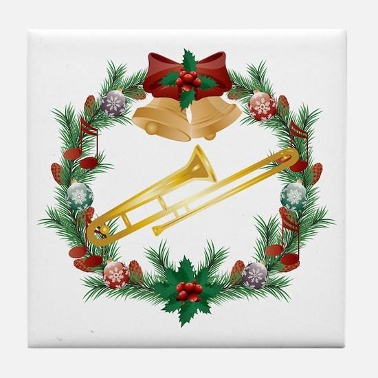 Christmas Trombone Music Tile Coaster