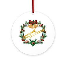Christmas Trombone Music Ornament (Round)