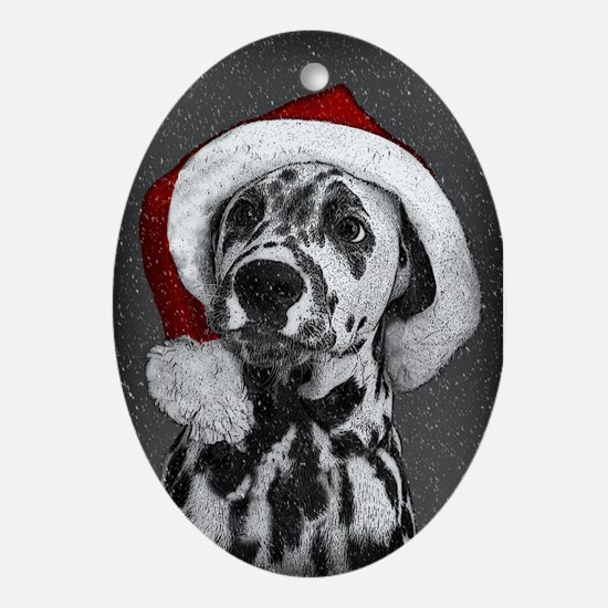 Dalmatian Puppy Oval Christmas Ornament