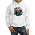 St Fran (f) - Tabby & White Hooded Sweatshirt