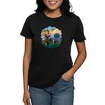 St Fran (f) - Tabby & White Women's Dark T-Shirt