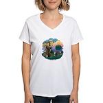St Fran (f) - Tabby & White Women's V-Neck T-Shirt
