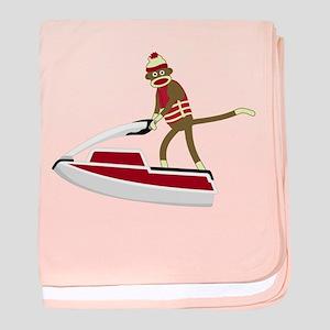 Sock Monkey Jet Ski Infant Blanket