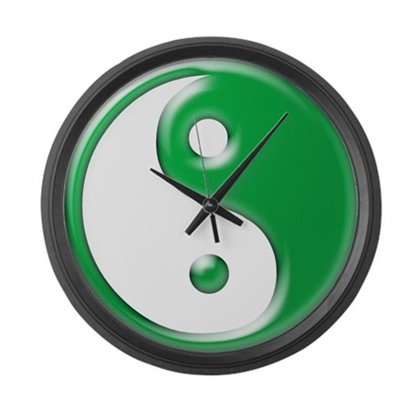 Green Yin Yang Large Wall Clock