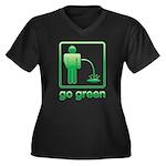 Go Green Women's Plus Size V-Neck Dark T-Shirt