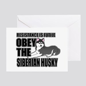 Obey The Siberian Husky Greeting Card