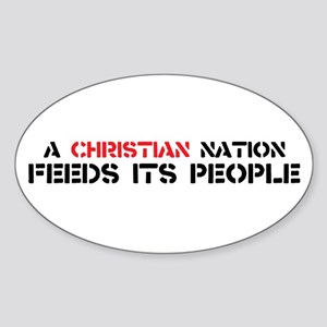 Christian Nation Feeds Sticker (Oval)