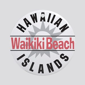 Waikiki Beach Ornament (Round)