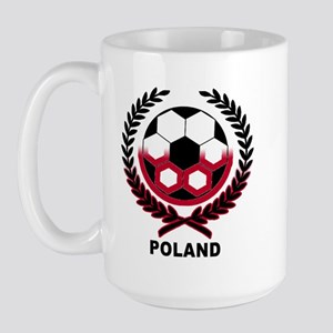 Poland World Cup Soccer Wreath Large Mug