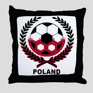 Poland World Cup Soccer Wreath Throw Pillow