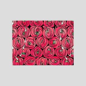 Art Nouveau Red Roses 5'x7'Area Rug