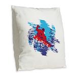 Snowboarder Blasting through t Burlap Throw Pillow