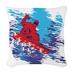 Snowboarder Blasting through t Woven Throw Pillow