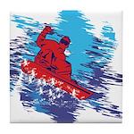 Snowboarder Blasting through the Snow Tile Coaster